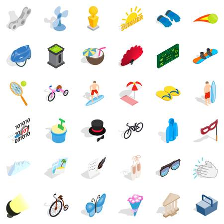 Amusement icons set. Isometric style of 36 amusement vector icons for web isolated on white background