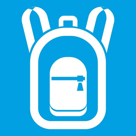Backpack icon white isolated on blue background vector illustration