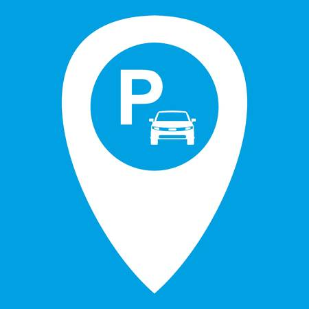 excursions: Map pointer with car parking icon white