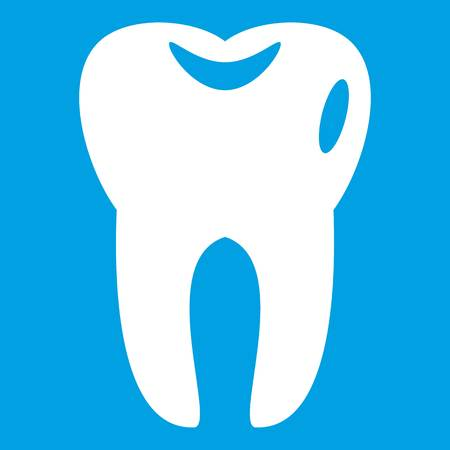 Tooth icon white isolated on blue background vector illustration Illustration