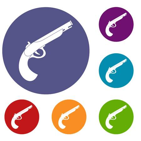 Gun icons set in flat circle red, blue and green color for web Illustration