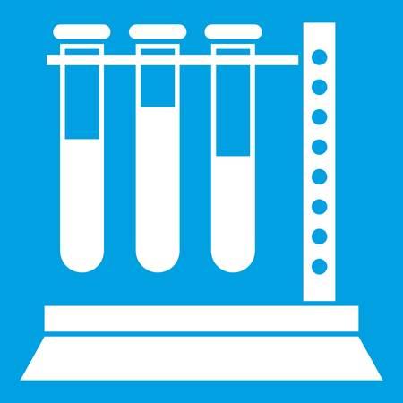Medical test tubes in holder icon white Illustration