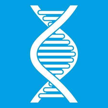 cromosoma: DNA strand icon white isolated on blue background vector illustration