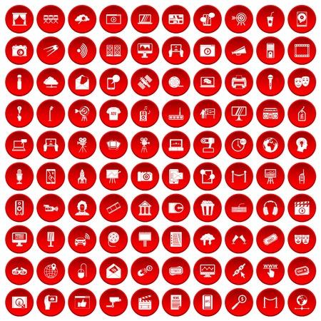 100 ikon multimedialnych ustawione na czerwono