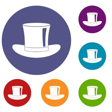 Silk hat icons set