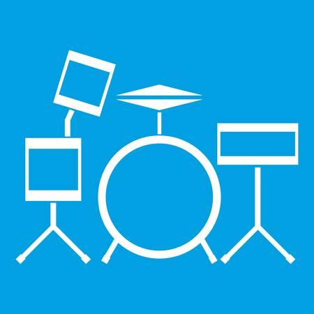 Drum kit icon white Illustration