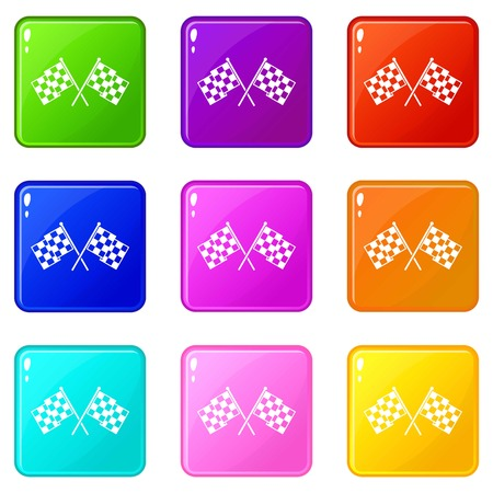 formula one: Checkered racing flags icons of 9 color set isolated vector illustration