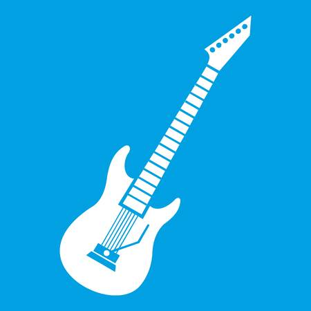 electronic music: Electric guitar icon white