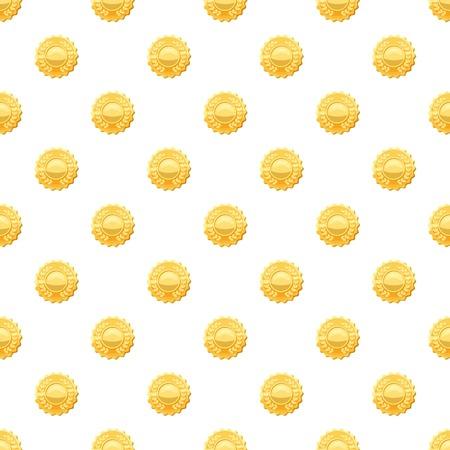 Gold medal with laurels pattern Illustration