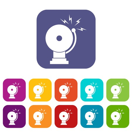 Fire alarm icons set vector illustration in flat style in colors red, blue, green, and other Illustration