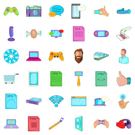 Cartoon style of 36 game app vector icons for web isolated