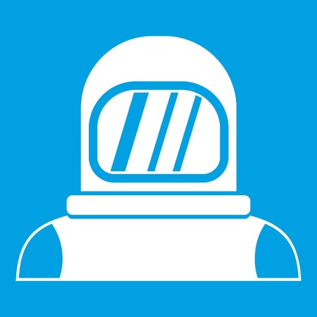 Astronaut icon white isolated on blue background vector illustration
