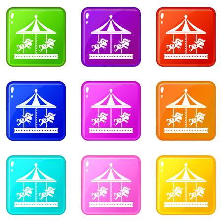 spinning: Merry go round horse ride icons of 9 color set isolated vector illustration