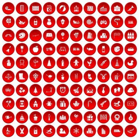 100 peuteronderwijspictogrammen die in rode cirkel worden geplaatst die op witte vectorillustratie wordt geïsoleerd