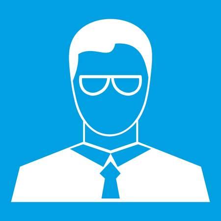 Teacher icon white isolated on blue background vector illustration