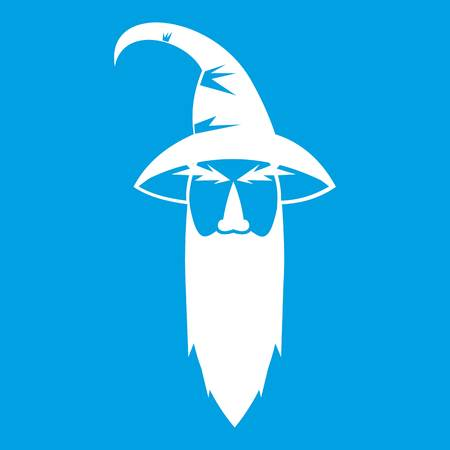 Wizard icon white isolated on blue background vector illustration Illustration
