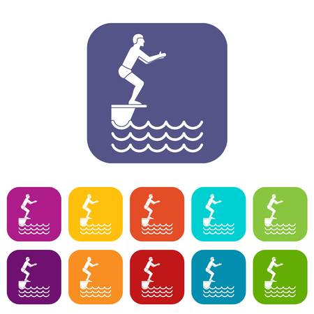 somersault: Man standing on springboard icons set vector illustration in flat style in colors red, blue, green, and other