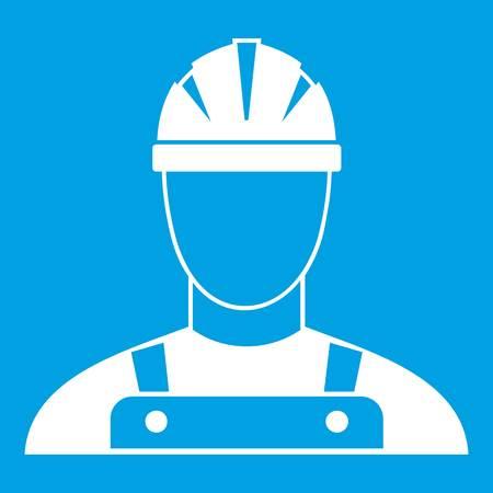 Builder icon white isolated on blue background vector illustration Illustration