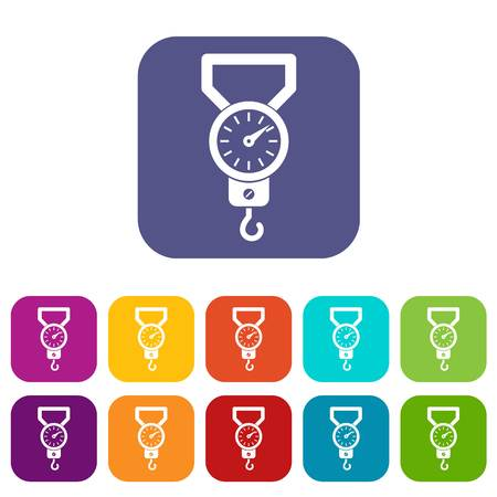 Spring scale icons set