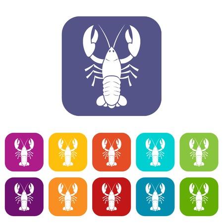 Crawfish icons set