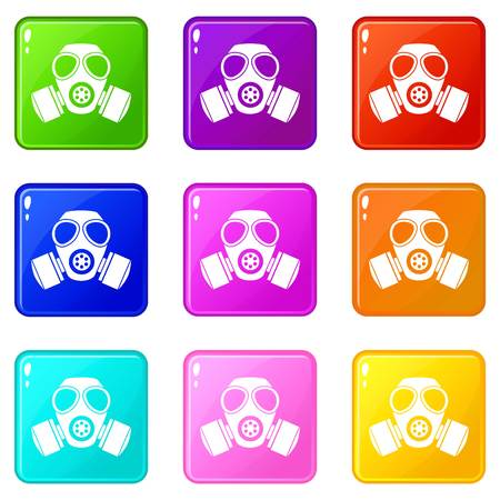 Chemical gas mask icons of 9 color set isolated vector illustration Illustration
