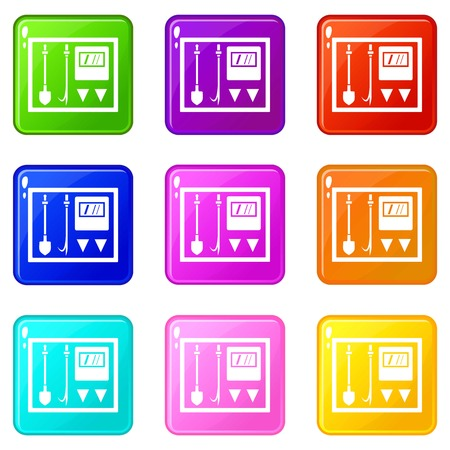 Fire shield icons of 9 color set isolated vector illustration