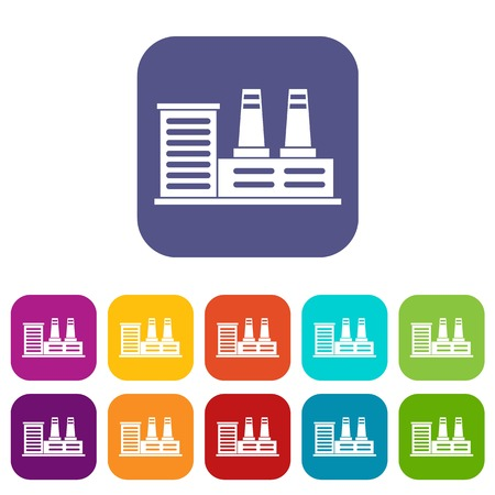 heavy construction: Power plant icons set vector illustration in flat style in colors red, blue, green, and other