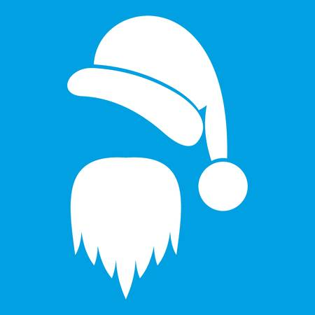 Santa Claus hat and beard icon white isolated on blue background vector illustration Illustration