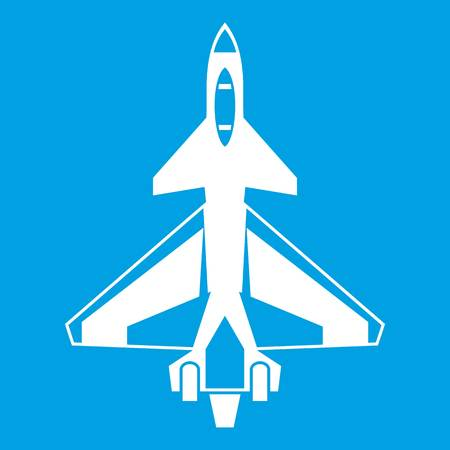 Military fighter jet icon white isolated on blue background vector illustration Illustration