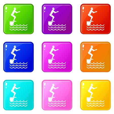 Man standing on springboard icons of 9 color set isolated vector illustration
