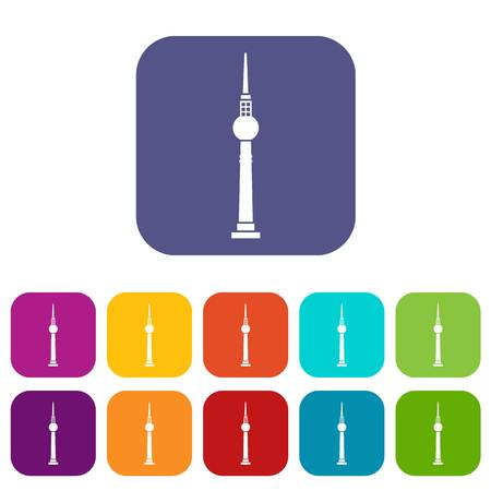 cell tower: Tower icons set vector illustration in flat style in colors red, blue, green, and other