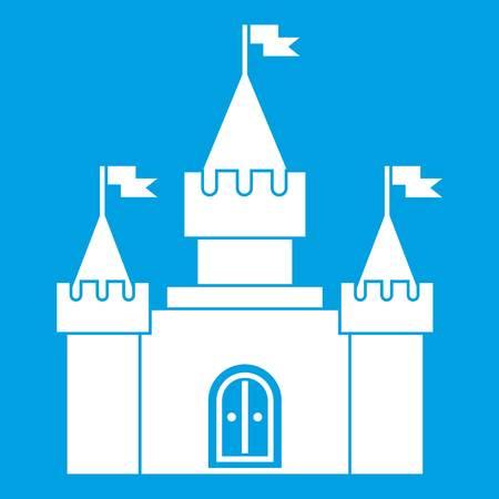 Fortress icon white isolated on blue background vector illustration Illusztráció