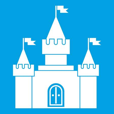 Fortress icon white isolated on blue background vector illustration Illustration