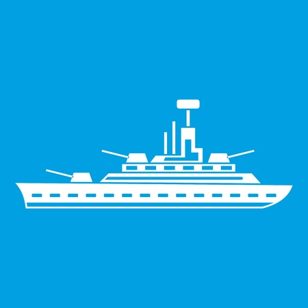 Military warship icon white isolated on blue background vector illustration