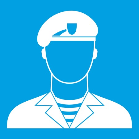 Modern army soldier icon white isolated on blue background vector illustration