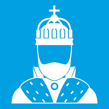baroque: King icon white isolated on blue background vector illustration