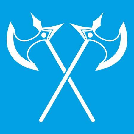 Crossed battle ax icon white isolated on blue background vector illustration Illustration