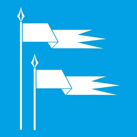 Ancient battle flags icon white isolated on blue background vector illustration