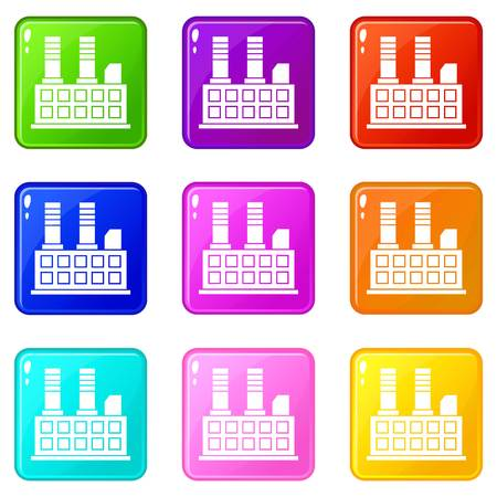 energy work: Factory building icons of 9 color set isolated vector illustration