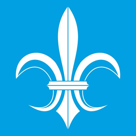 Lily heraldic emblem icon white isolated on blue background vector illustration Illustration