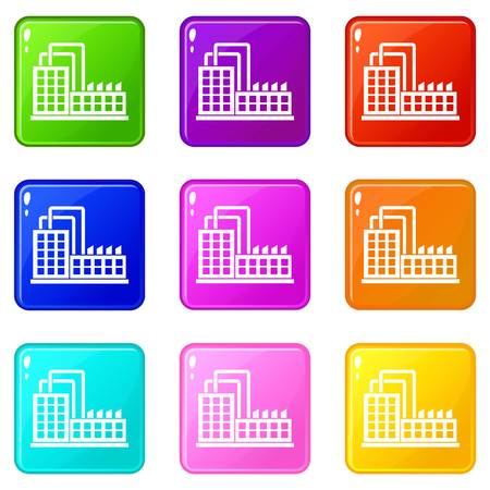 Factory building icons of 9 color set isolated vector illustration
