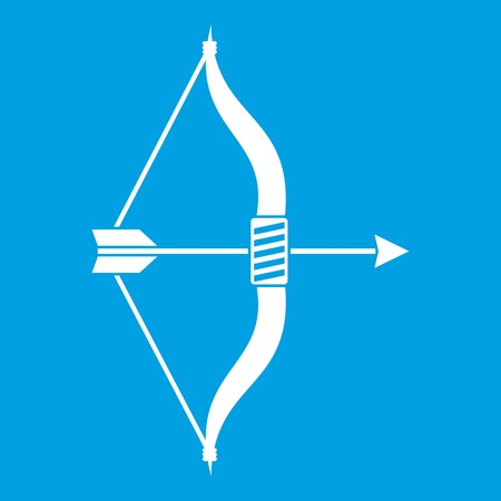 Bow and arrow icon white isolated on blue background vector illustration