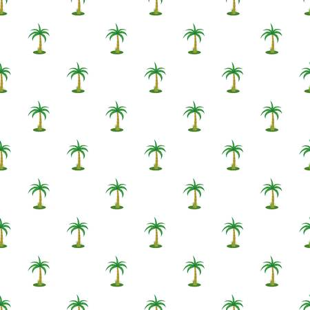plant stand: Single palm tree pattern seamless repeat in cartoon style vector illustration