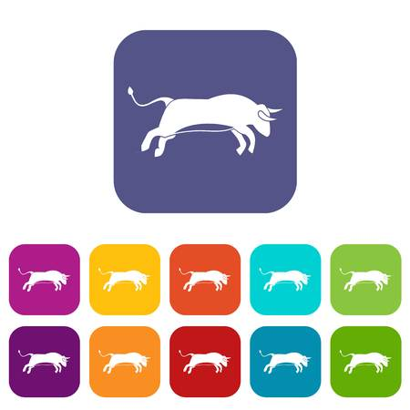 Bull icons set vector illustration in flat style in colors red, blue, green, and other Illustration