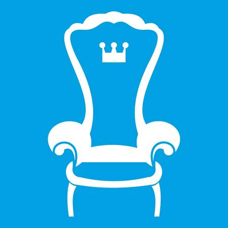 King throne chair icon white isolated on blue background vector illustration