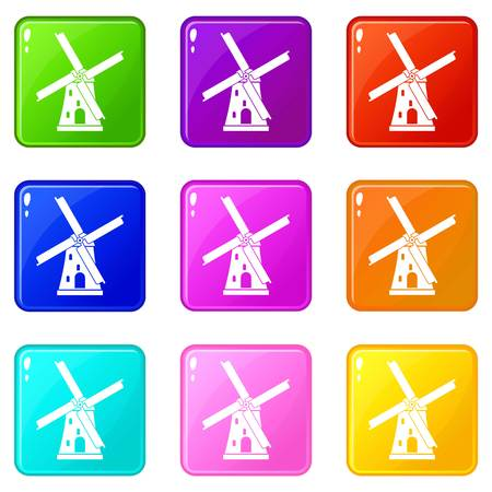 Ancient windmill icons of 9 color set isolated vector illustration
