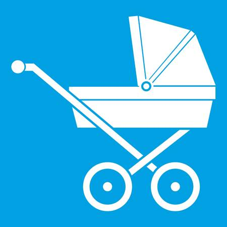 Baby carriage icon white isolated on blue background vector illustration