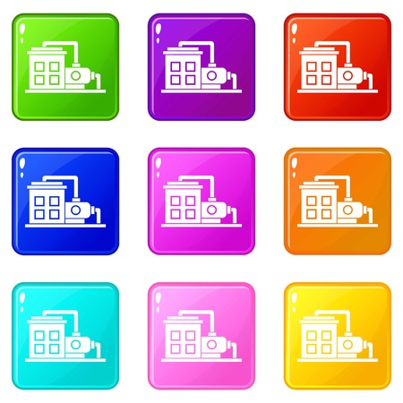 powerhouse: Factory building icons of 9 color set isolated vector illustration