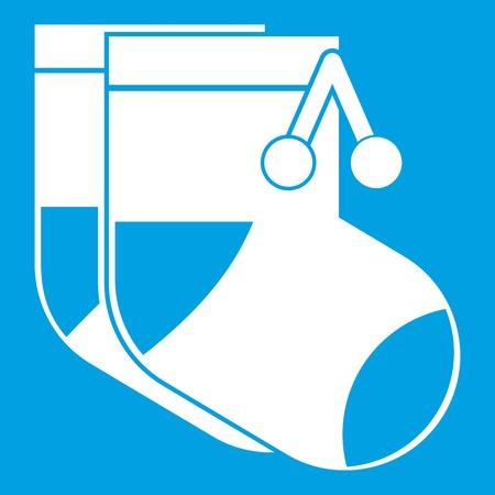 Baby socks icon white isolated on blue background vector illustration