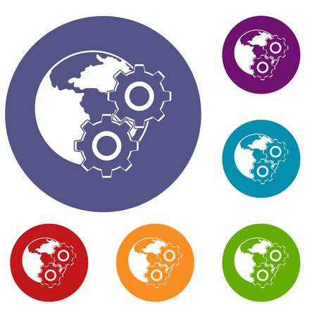 World planet and gears icons set in flat circle red, blue and green color for web Illustration